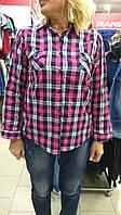 Рубашка клетка дл/короткий рукав с манжетом батал