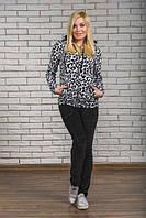 Красивый женский велюровый  спортивный костюм на молнии, цвет леопард р-42-54