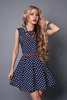 Платье мод 385-3 размер 42,44,46,48 синий горох