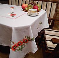 """Вышитая скатерть ручной работы для круглого или квадратного стола """"Маки"""""""
