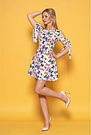 Яркое платье 99977 42,44,46,48 размеры женское с бабочками летнее короткое по фигуре нарядное модное сарафан