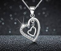 """Серебряный кулон """"Сердце"""" с цепочкой"""