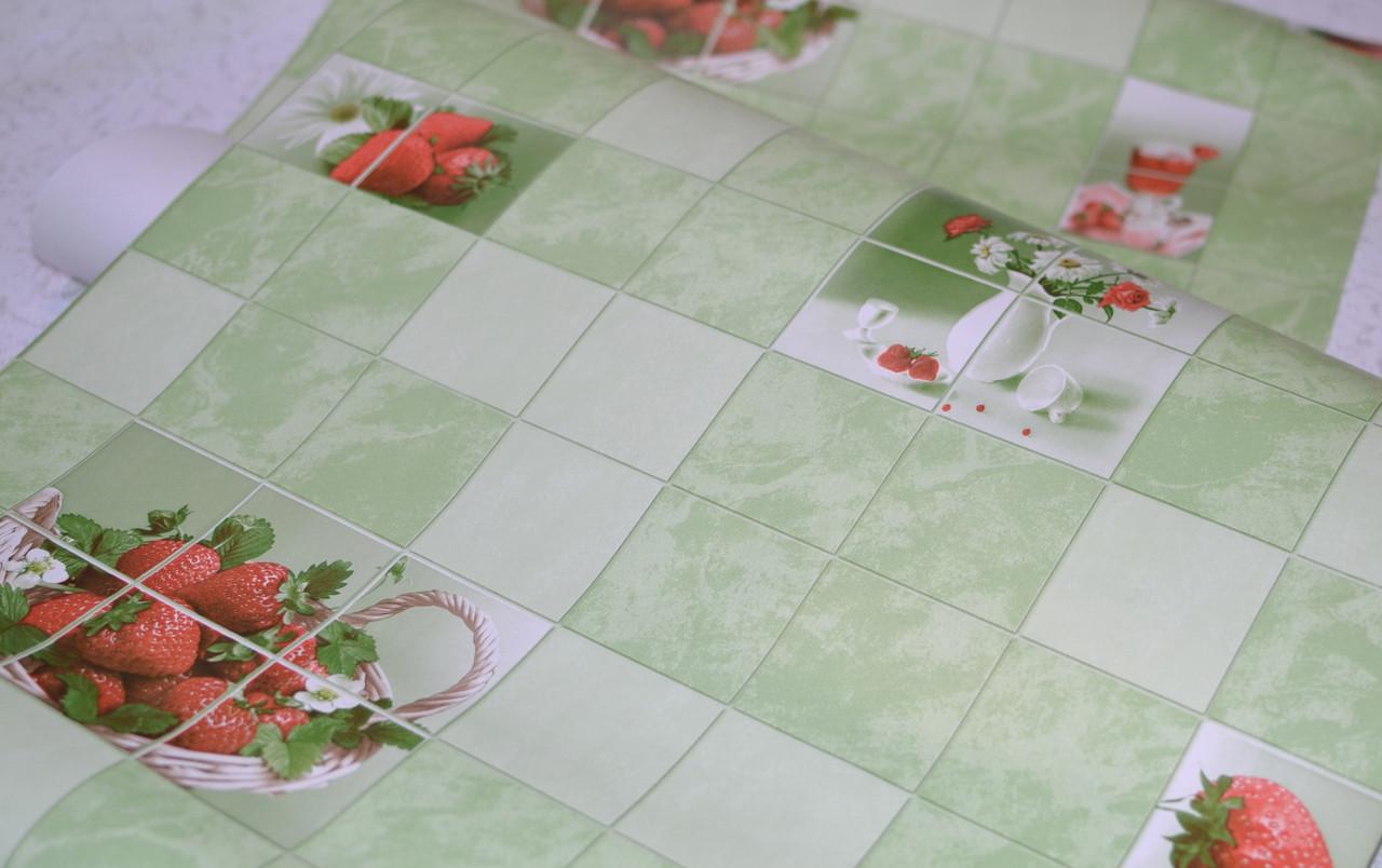 Обои на стену, клубника, ромашки, зеленый, влагостойкие, бумажные, Клубничка 878-04, 0,53*10м