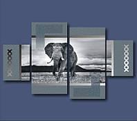 """Картина модульная """"Африканский слон""""  (850х1460 мм) [4 модуля]"""