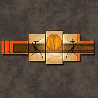 """Модульная картина """"Африканское солнце""""  (1000х2780 мм) [5 модулей]"""