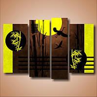 "Модульная картина ""Бамбук. Пара журавлей""  (750х1100 мм) [4 модуля]"