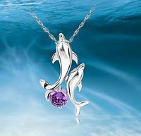 """Серебряный кулон """"Дельфины"""" с цепочкой"""