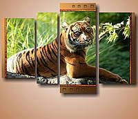 """Модульная картина """"Большая кошка. Тигр""""  (950х1400 мм) [4 модуля]"""
