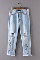 Джинсы женские W11 Zara с вышивкой реплика