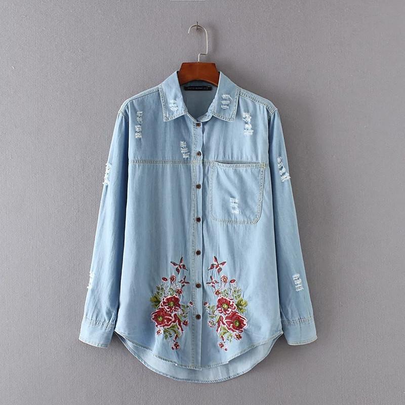 43bf103a54f18ac Купить Рубашка женская вышитая NNT 871 Джинсовые рубашки с вышивкой ...