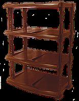 Полка для обуви коричневая люкс 4 яруса