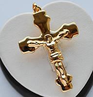 Большой крест с распятием Xuping позолота 18к