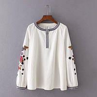 Блузка женская вышитая 404402 Блузки с вышивкой реплика Zara