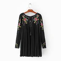Блузка женская вышитая 404420 Блузки с вышивкой реплика Zara