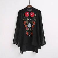 Блузка женская вышитая 404430 Блузки с вышивкой реплика Zara