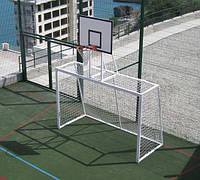 Ворота минифутбол(гандбол) 3х2м стальные, с баскетбольным щитом и корзиной разборные