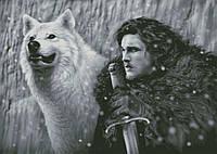 """Схема для вышивания """"Джон Сноу и его волк"""""""