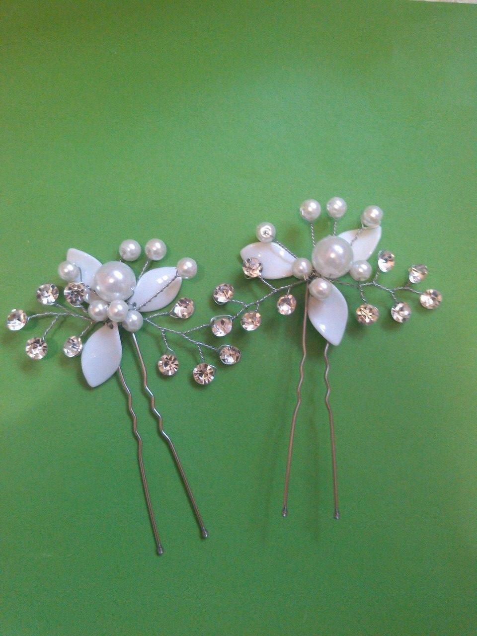 Шпильки для свадебной прически белые