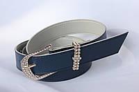 Качественный ремень-полоска (в стразах) женщинам, цвет - синий, 44/36 (цена за 1 шт. + 8 гр.)