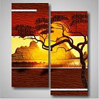 """Модульная картина """"Солнце над долиной""""  (900х740 мм) [2 модуля]"""