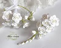 """""""Двойные розы""""(браслет+заколка веточка). Свадебный комплект украшений из полимерной глины."""