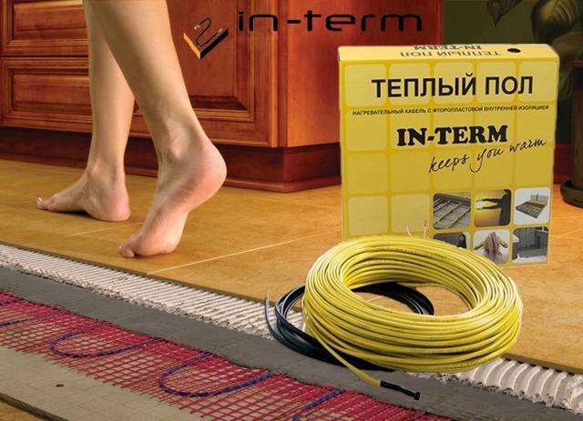 Греющий кабель и маты (в стяжку, для обогрева труб) In-Term 20Вт/м.