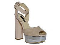 Женские замшевые босоножки на толстом каблуке и серебристой платформе