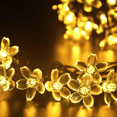Светодиодная гирлянда на солнечной батарее  Лютики желтый 7м 50Led