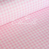 ✁ Відрізи польської бязі Клітинка рожева 8 мм