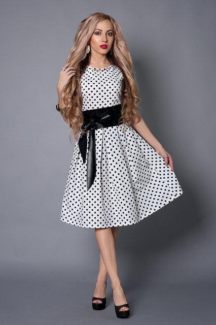 8f71469252cf518 Нарядное клубное платье белое в черный мелкий горох с карманами от ...
