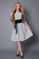 Нарядное клубное платье белое в черный мелкий горох с карманами