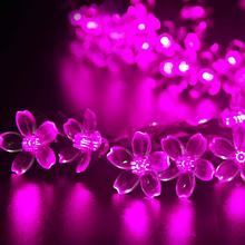 Светодиодная гирлянда на солнечной батарее  Лютики розовый 7м 50Led