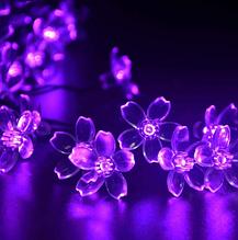 Светодиодная гирлянда на солнечной батарее  Лютики фиолетовый 7м