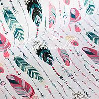 ✁ Отрезы хлопковой ткани Перья с бусинами пастель, фото 1