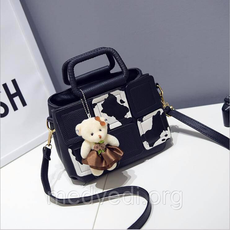 Чорна жіноча сумочка, повсякденна сумка на ремені з ручками