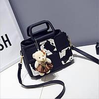 Черная женская сумочка, повседневная сумка на ремне с ручками