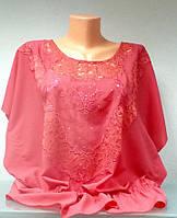 Блуза туника Eveline женская кораловая размер+