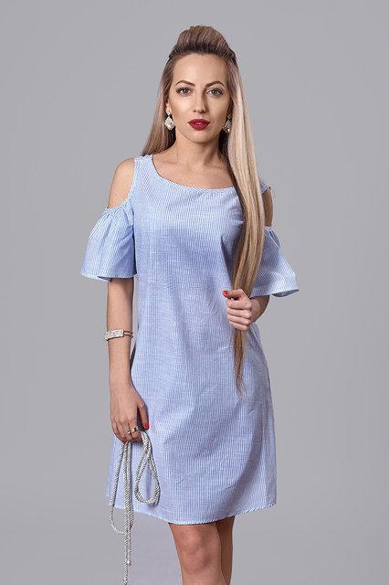 67dc35aef27 Голубое летнее платье в мелкую полоску рукава-воланы от оптово ...
