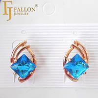 Серьги  позолоченные FJ FALLON голубой цирконий 415