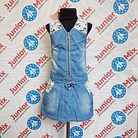 Джинсовый детский сарафан на девочку с карманами под пояс
