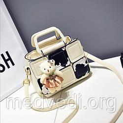 Белая женская сумочка, повседневная на ремне с ручками