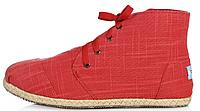 Мужская летняя обувь Toms All Red высокие Томс красные
