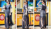 Женское красивое платье в полоску с сеткой , фото 1