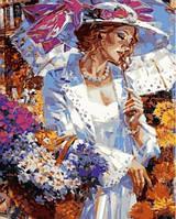 Рисование по номерам Турбо Дама с корзинкой ромашек (VP633) худ. Алексей Лашкевич 40 х 50 см