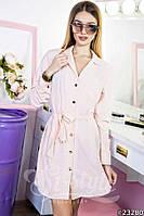 Стильное платье-рубашка на пуговицах с поясом