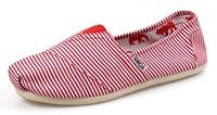 Женская летняя обувь 2017 эспадрильи Toms красные в полоску