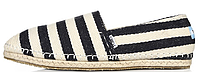 Женская летняя обувь 2017 эспадрильи Toms черные/белые в полостку