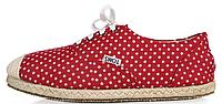 Женская летняя обувь слипоны Toms 2017 Red красные в белый горошек
