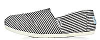 Женская летняя обувь 2017 эспадрильи Toms черные/белые в полоску