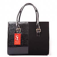 Деловая сумка 1343dez комбинация лака и эко-замши